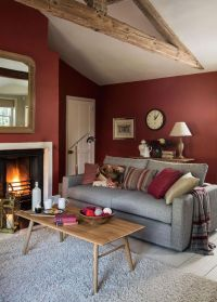 Grey And Red Walls Living Room