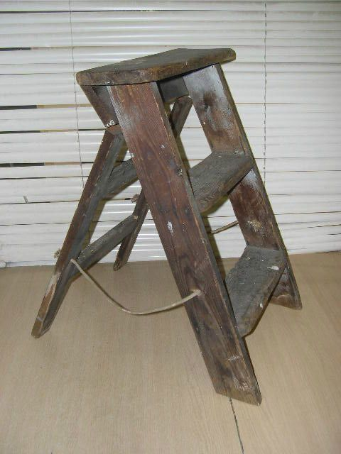 vintage kitchen step stool chair delta faucet sprayer repair two plus platform wooden ladders ...