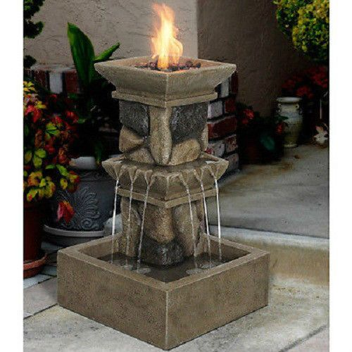 Propane Fire Pit Fountain Torch Gas Heater Pool Deck Patio Fire Place Furniture  eBay  Patio