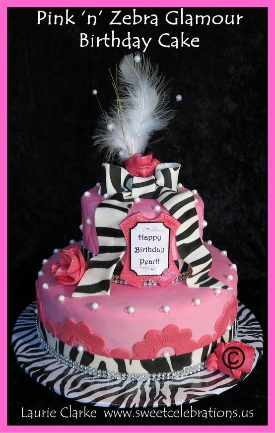 Pink N Zebra Glamour Birthday Cake By Laurie Clarke Www