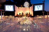 Modern glass tables + ghost chairs /// #wedding #party # ...
