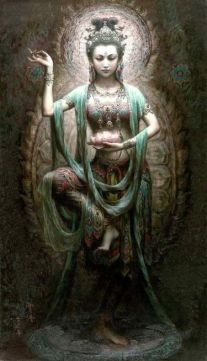 """'Green Tara' by Zeng Hao. (Dun Huang Art Studio). Not a """"Hindu"""" Goddess but a Goddess of Tibetan Buddhism. She is a female Bodhisattva in Mahayana Buddhism and who also appears as a female Buddha in Vajrayana Buddhism. She is known as the """"Mother of Liberation"""", and represents the virtues of success in work and achievements. In Japan she is known as 'Tara Bosatsu', and is little-known as 'Duōluó Púsà' in Chinese Buddhism."""