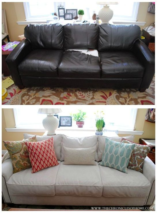 reupholster sofa in leather cobble hill the reveal | upholstered sofa, home and o'jays