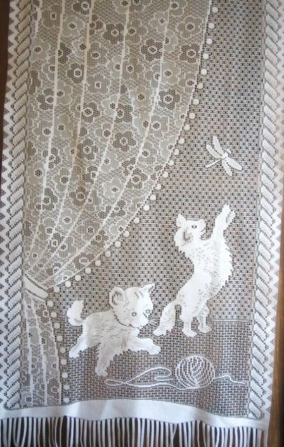 Kitten lace curtain Vintage French Kittens with a dragonfly lace net drape window treatment