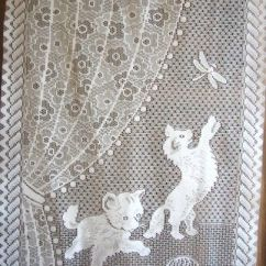 Kitchen Curtain Ideas La Cornue Kitten Lace Curtain, Vintage French, Kittens With A ...