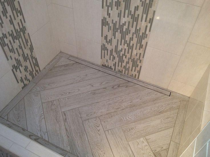 Interceramics Scenic In A Herringbone Pattern On A Shower