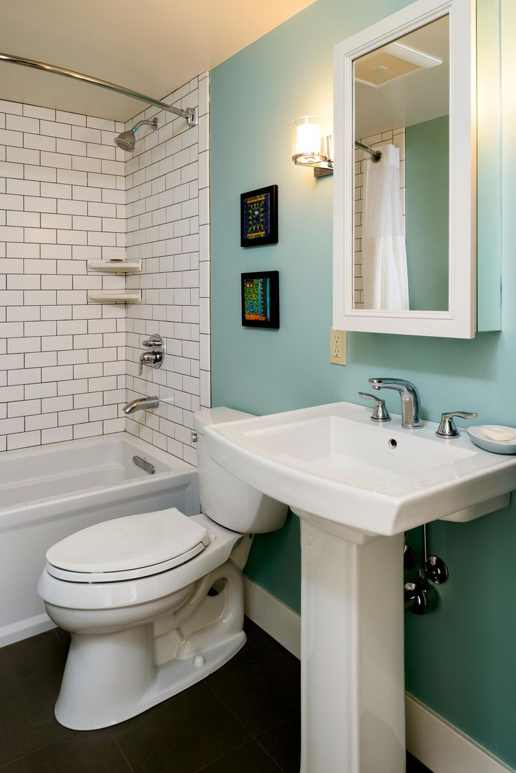 Bathroom Remodel  Retro Bathroom  Modern Bathroom  Subway Tile  Teal Accent Wall  Turquoise