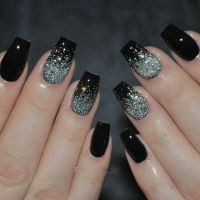 25+ best ideas about Black Sparkle Nails on Pinterest