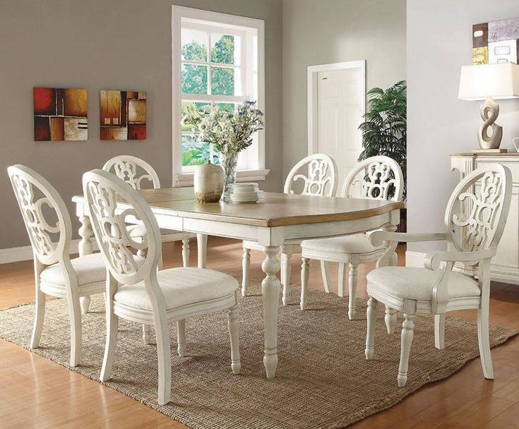 upholstered dining chairs with oak legs fisher price rainforest high chair recall white dinette sets   set traditional furniture for formal room houzz ...