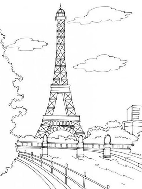 Paris Eiffel Tower Embroidery Pattern. Cute for a throw