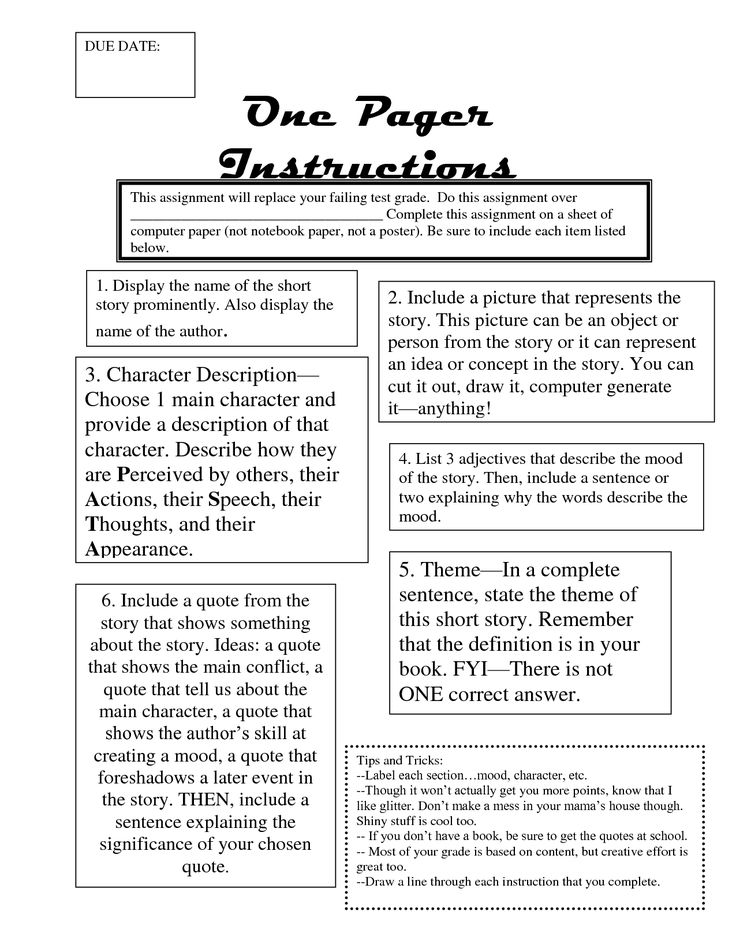 one pager example  One Pager Instructions  classroom collection  Pinterest