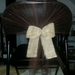 Diy Folding Chair Covers Weddings Distressed Black Metal Dining Chairs Cover Tulle And Burlap Use White Then Purple Bows Maybe? |