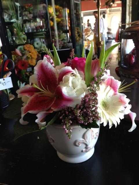 Pretty Stargazer Lily Flower Arrangement Is Ceramic French