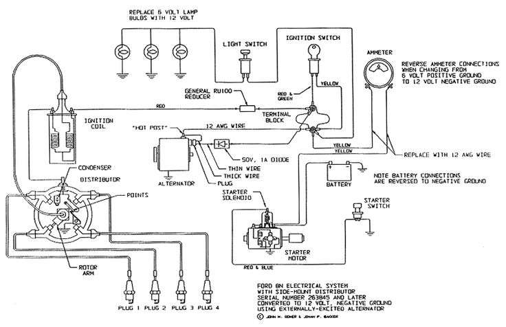 lucas 3 pin alternator wiring diagram 2006 nissan sentra fuse electrical schematic for 12 v ford tractor 8n - google search | pinterest ...