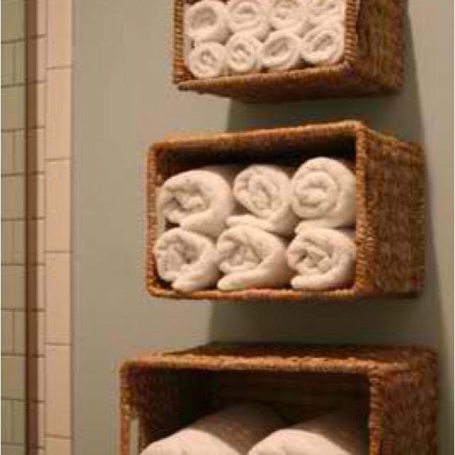 DIY wicker basket shelves  Cheap revamps  Pinterest