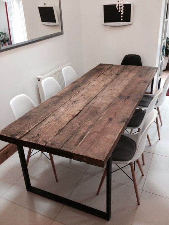 Here is our 6-8 seater dining table Made from reclaimed timber and steel The top is made from solid 21/2 t