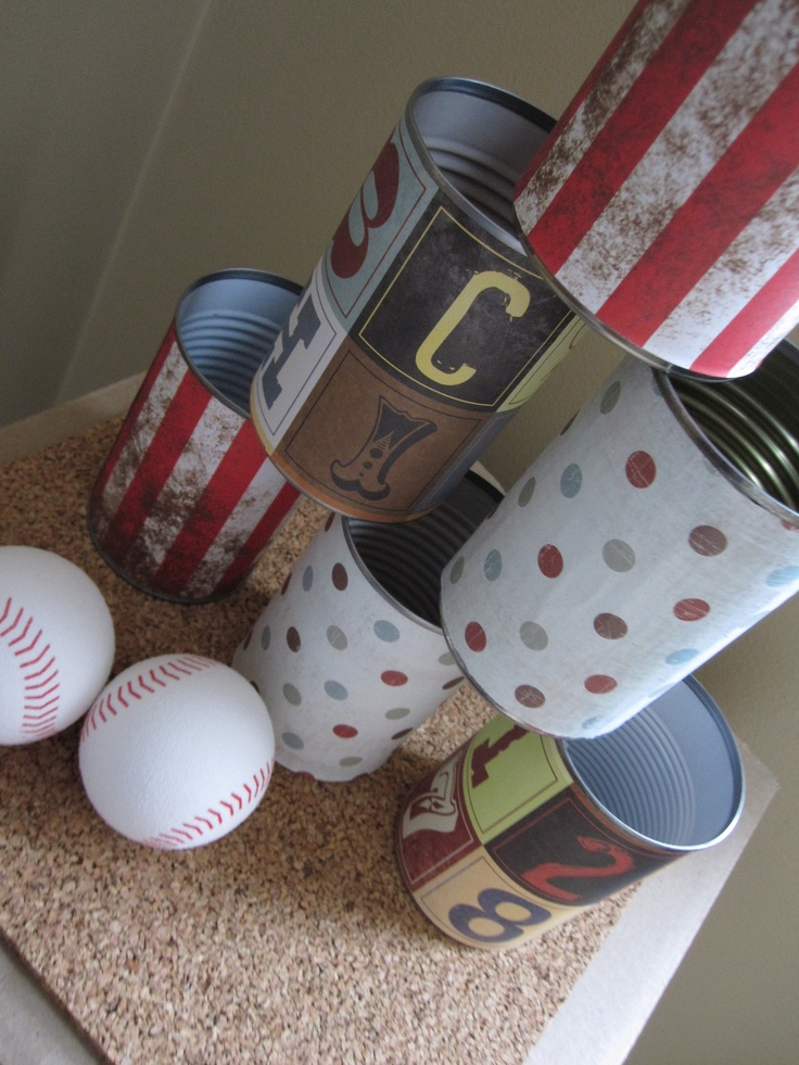 Indoor fun, use old cans that have been painted for games like bowling, at tower
