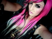 hot pink black and white-blonde