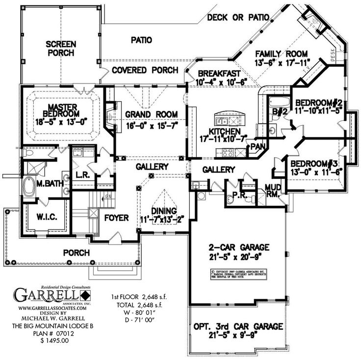 Big Mountain Lodge B House Plan # 07012, 1st Floor Plan