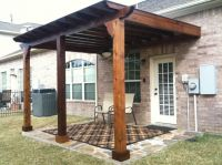 Inspiring Wood Patio Cover Designs with Wall Mounted ...