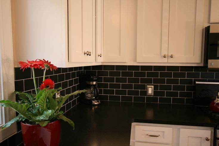 kitchen aid mixing bowls overhead lighting white cabinets, black subway tile & granite ...