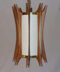 Vintage Mid Century Hanging Light Fixture Swag Lamp Teak ...