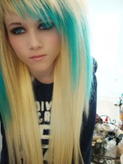 blonde hair with turquoise streaks