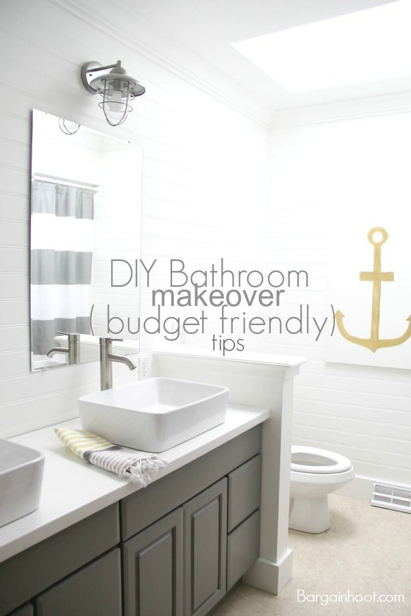 DIY gray bathroom makeover Budget friendly tips wwwbargainhootcom Love the anchor  For the Home  Pinterest  Toilets Pictures of and Gray