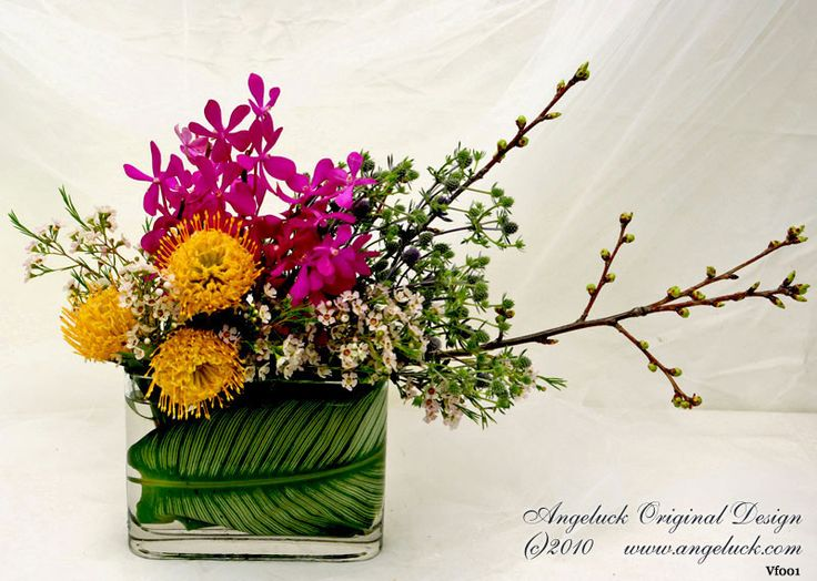 Custom Floral Arrangements. Asymmetric With Tight