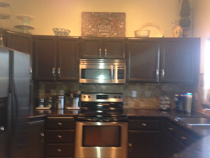 Painted kitchen cabinets Behr espresso bean satin finish