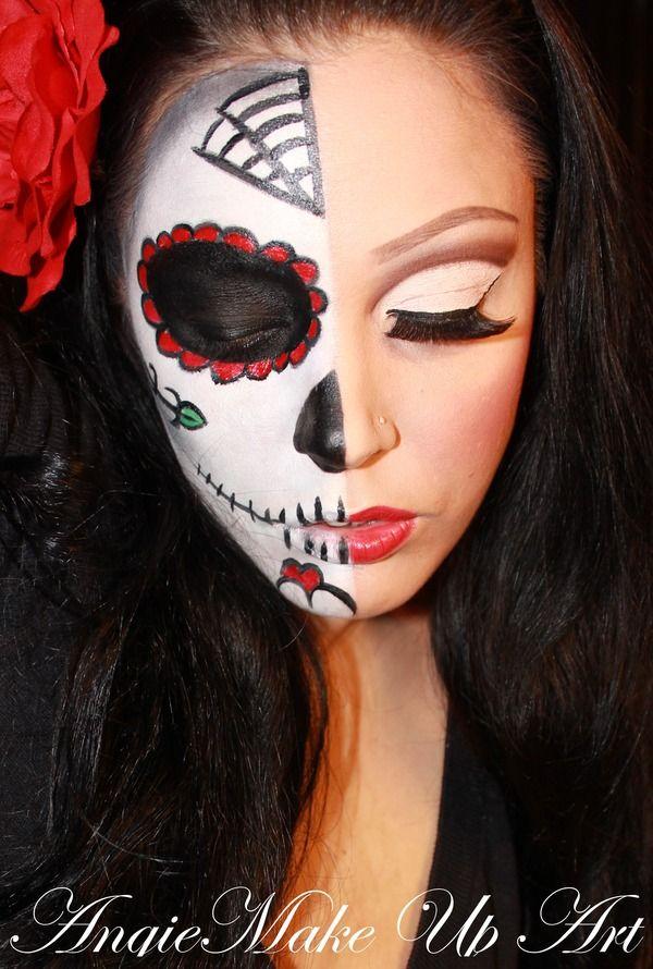 Easy Half Face Sugar Skull Makeup Tutorial Makewalls Co