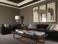 Amazing basement family room with taupe grasscloth