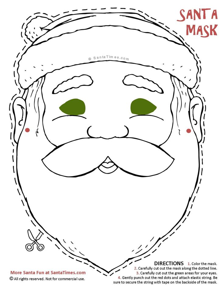 Here's a jolly Santa Mask to cut out and color. Find more
