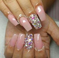 Light Pink Square Tip Acrylic Nails w/ Rhinestones | Nails ...