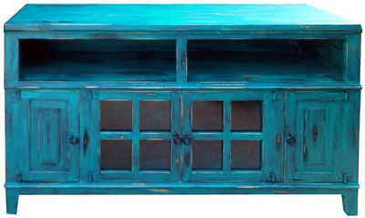 Turquoise Distressed Entertainment Center Rustic Home