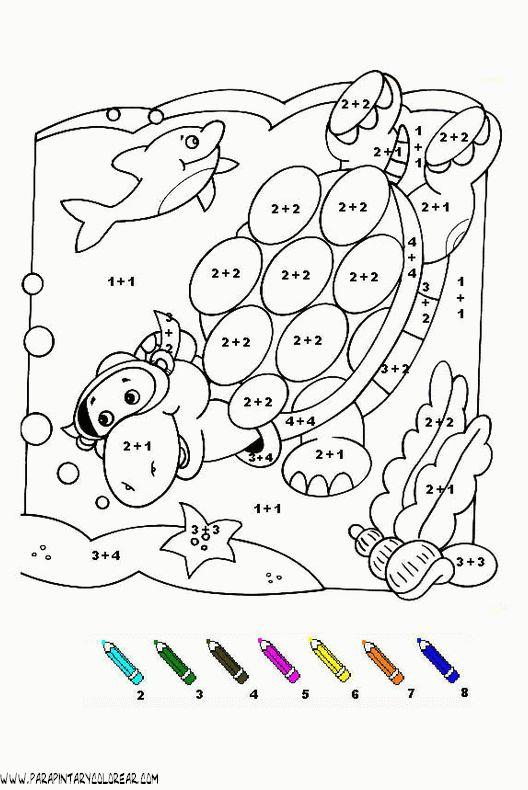 fichas para colorear con sumas y restas de personajes