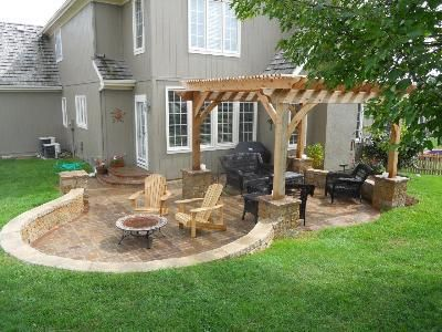 "Backyard Landscape design. I like the whole ""sunken"" design for patios. The inte"