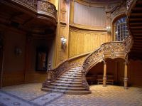 The curving, grand staircase in The House of Scientists ...