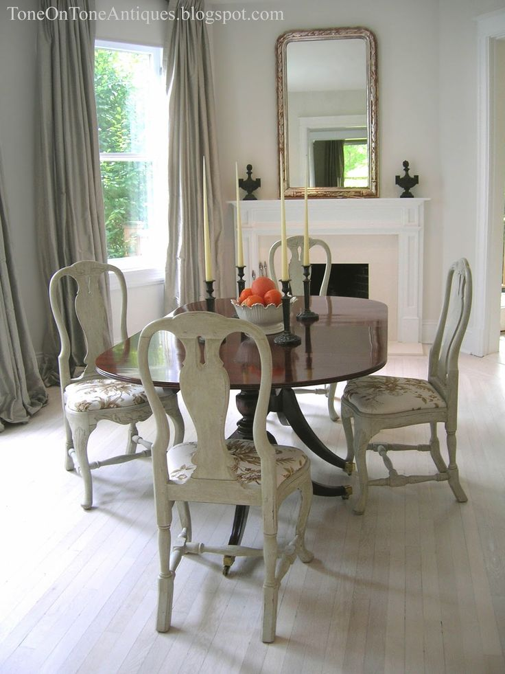 Tone on Tone Duncan Phyfe dining table with painted Queen Anne chairs  Dining Rooms