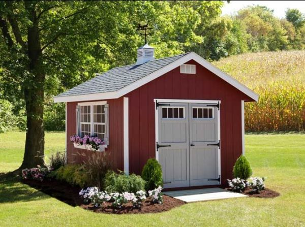 cute red shed. ez-fit sheds