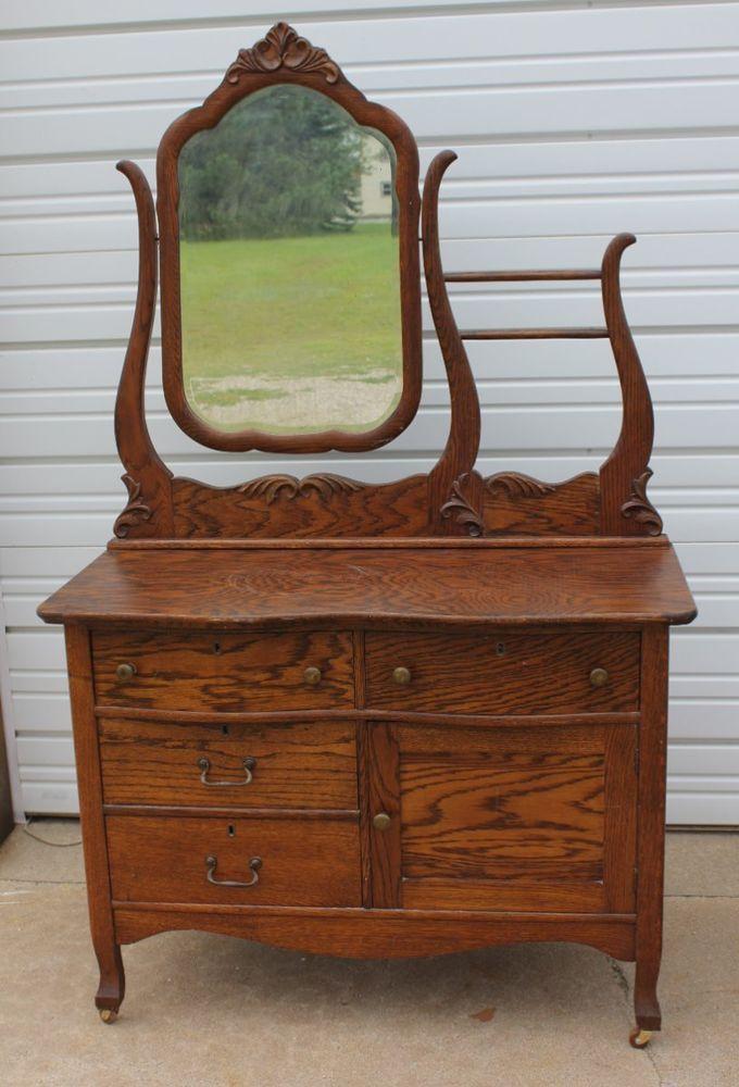 Antique Solid Oak Hotel Washstand Commode Dresser w Beveled Mirror  2Towel Bars  Building