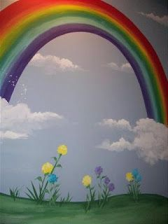 Little Girl Nursery Wallpaper Rainbow Wall Wall Murals And Murals On Pinterest