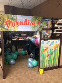 My summer beach themed cubicle my coworkers did for my