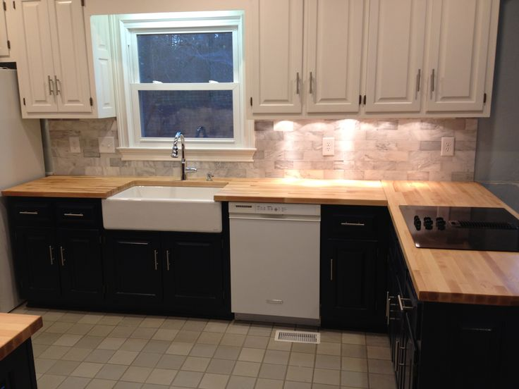 refinishing kitchen countertops undermount stainless steel sinks remodel - we used butcher block counter tops ...