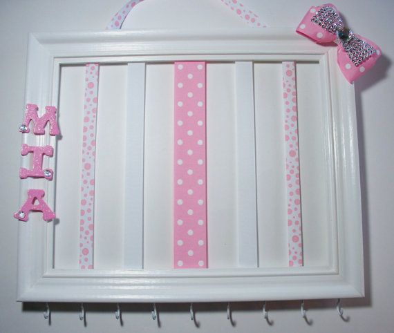 Personalized picture frame headband and hair bow holder 11x14 hair accessories organizer
