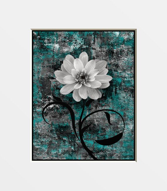 Grey Teal Flower Wall Art Photography Home By