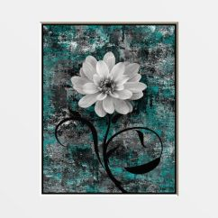 Living Room Ideas Grey And Yellow La Jolla Teal Flower Wall Art Photography Home By ...