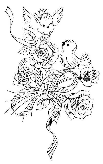 birds and flowers line drawing for embroidery pattern (or