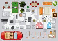 ZENT Design 2D: Furniture Floor Plan - VECTOR PREMIUM ...