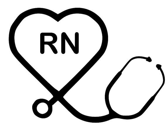 Heart Stethoscope RN Decal by SmallTownGraphics on Etsy